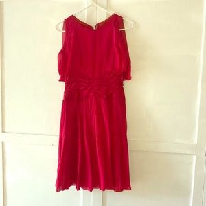 VINTAGE! 1950s hand stitched red party dress